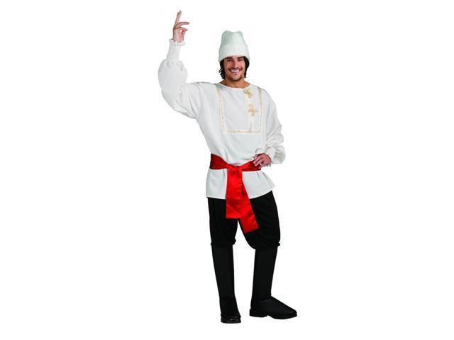 White Russian Siberia Man White & Black Costume Adult X-Large