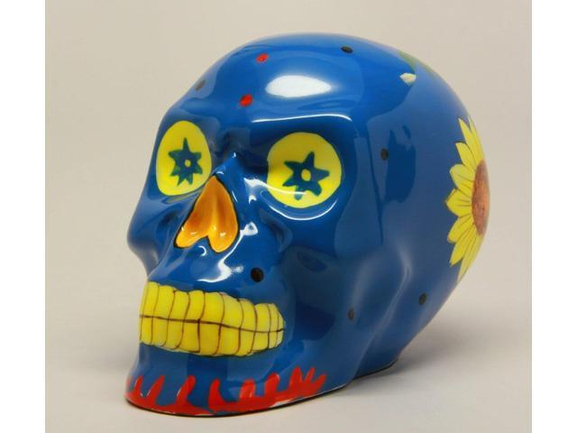 Blue Day of the Dead Skull Statue