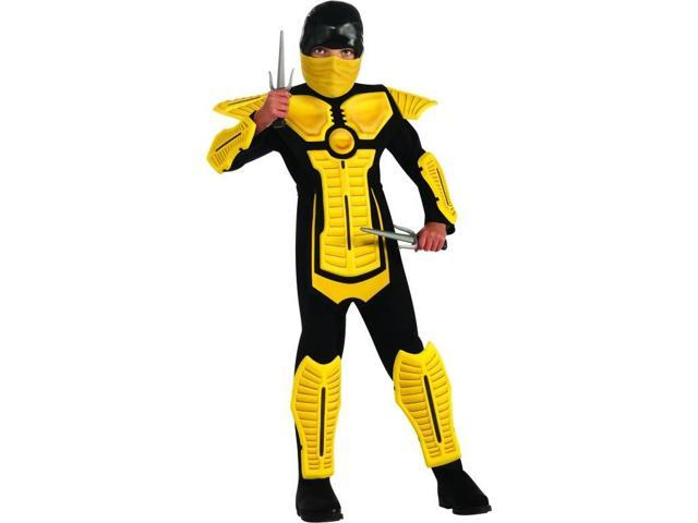 Yellow Ninja Molded Armor Jumpsuit Costume Child Small 4-6