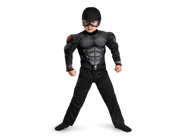 GI Joe Snake Eyes Muscle Jumpsuit Costume Child Toddler Medium 3-4T