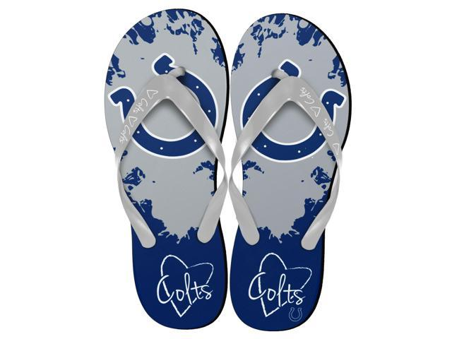 Indianapolis Colts NFL Womens Paint Splatter Flip Flops Small 5-6