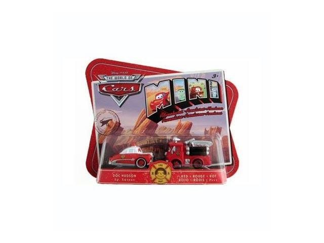 Disney Pixar Cars Mini Adventures Fire Dept 2 Pack Doc Hudson & Red