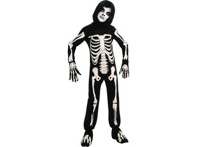 Skeleton Hooded Jumpsuit & Mask Costume Child Small 4-6