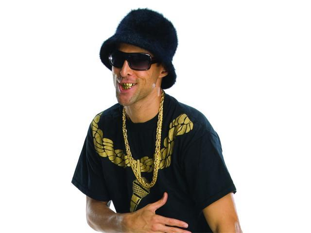 Old School Rapper Adult Costume Bucket Hat - Black