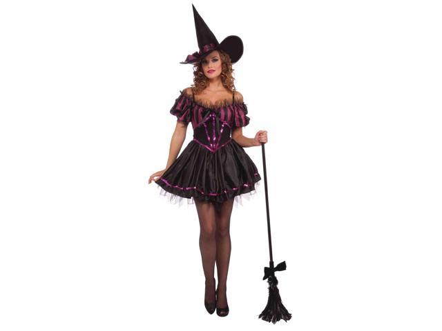 Charming Black And Purple Adult Witch Costume Dress One Size Fits Most