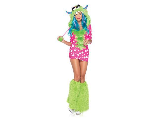 Sexy Melody Monster Dress & Furry Hood Costume Adult X-Small 0-2