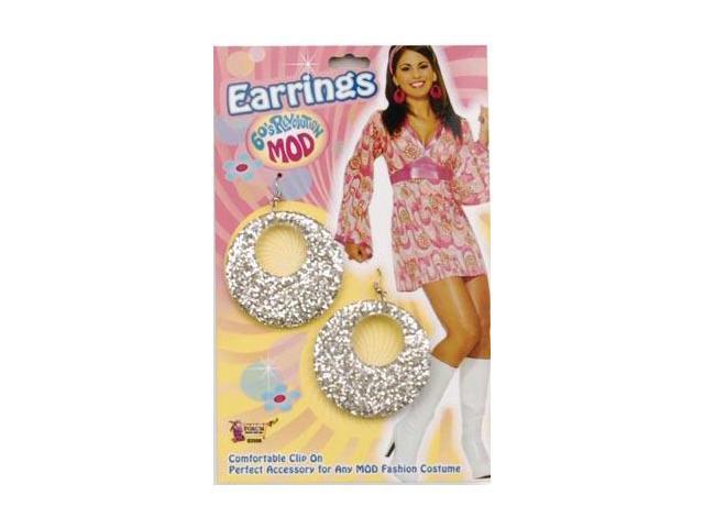 60's 70's Hippie Glitter Mod Costume Earrings - Silver