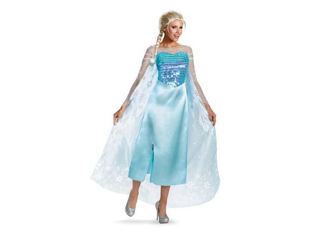 Frozen Disney Classic Elsa Snow Queen Gown Adult Costume 8-10