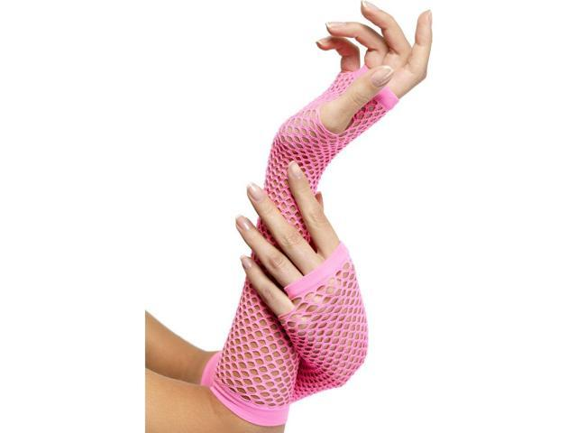 80's Neon Hot Pink Fishnet Gloves Costume Accessory