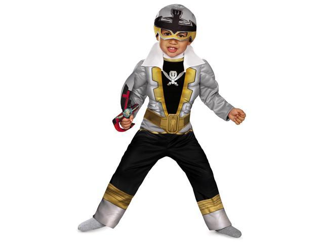 Super Megaforce Power Rangers Silver Ranger Muscle Toddler Costume 4-6