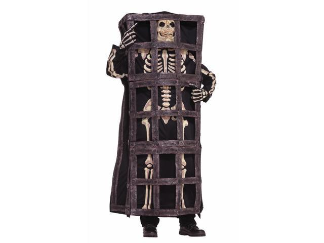 Scary Skeleton Prisoner In Cage Jail Costume Adult Standard