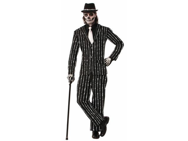 Skeleton Bones Pin Stripe Suit Adult Costume One Size