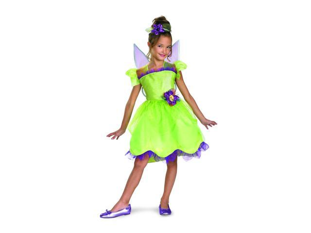 Disney Fairy Tinker Bell Rainbow Deluxe Costume Dress w/Wings & Headpiece Chi...