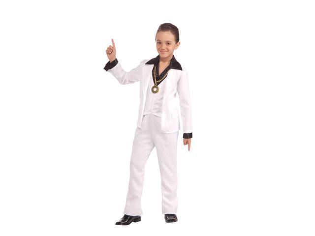70's Disco Fever White Suit Child Costume Large