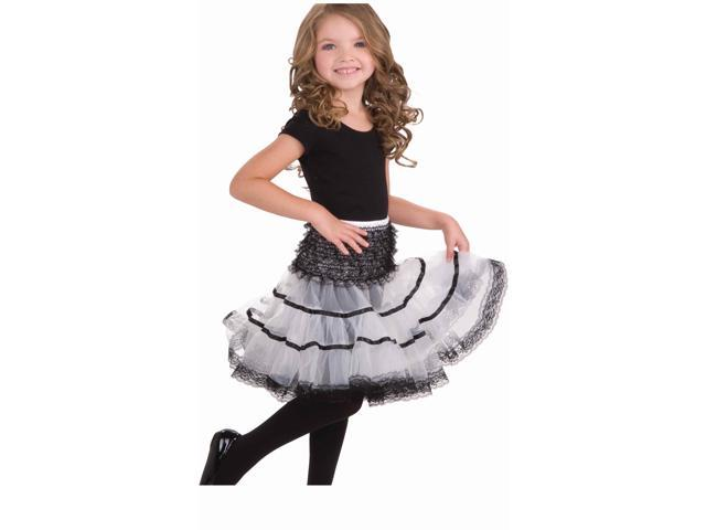White & Black Costume Crinoline Slip Child One Size Fits Most