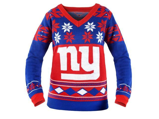 New York Giants NFL Women's Big Logo V-Neck Ugly Christmas Sweater Small