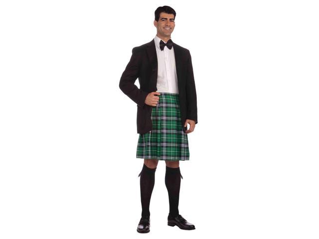 Green Plaid Scottish Kilt Adult Male Costume One Size Fits Most