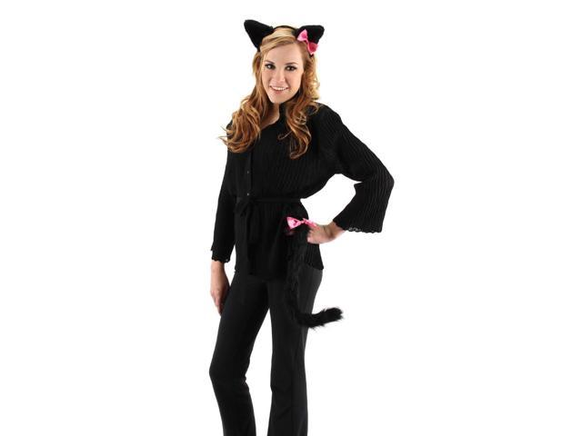Cute Kitty Ears & Tail Costume Accessory Set Black One Size
