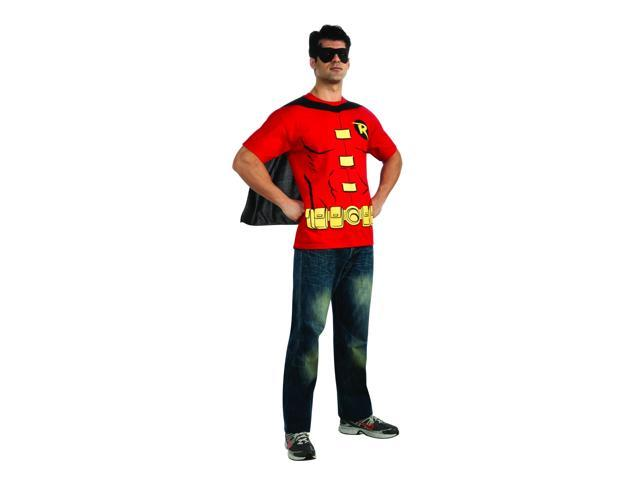 Batman Men's Robin Shirt & Eye Mask Costume Set Adult Large 42-44