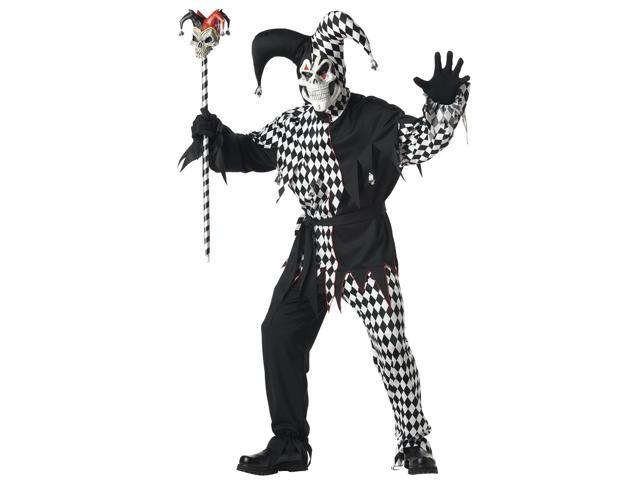 Evil Jester Costume Black & White Adult X-Large