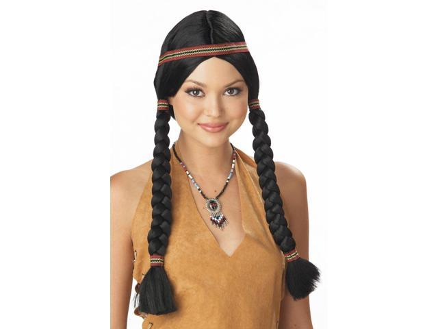 Indian Maiden Princess Black Adult Costume Wig
