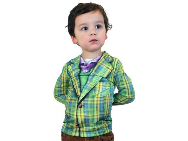 Faux Plaid Suit Costume T-Shirt Child Large