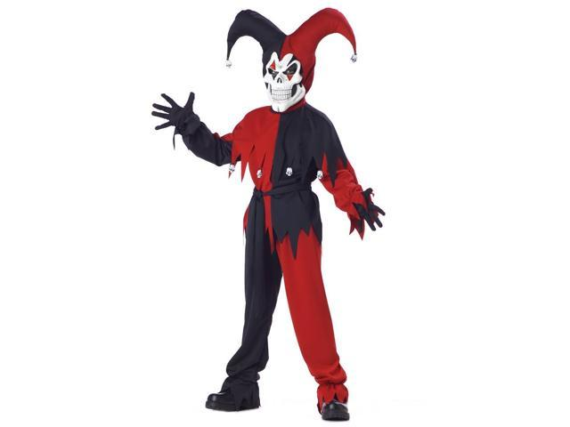 Evil Jester Red And Black Costume Child Tween 10-12