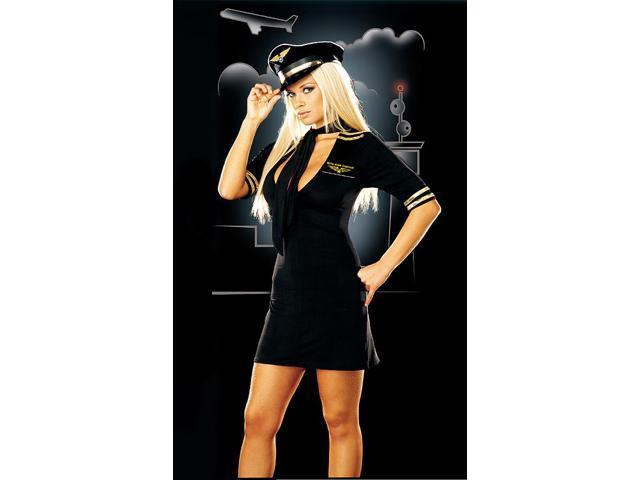 Sexy Mile High Captain Flight Pilot Dress Costume Adult Large