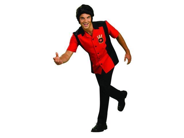 Rock N Bowl Men'S Red & Black Bowling Shirt Costume Adult Standard