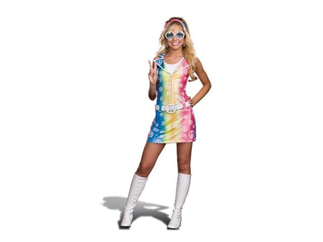Sassy Polly Ester Retro 60's 70's Peace Sign Junior Dress Costume Medium