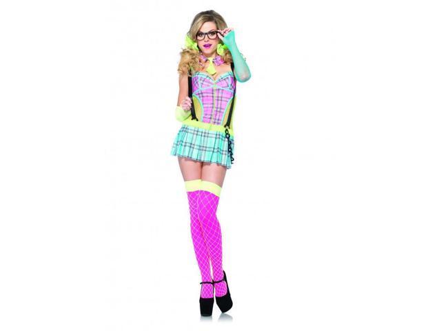 Day Glow School Girl Adult Dress Medium