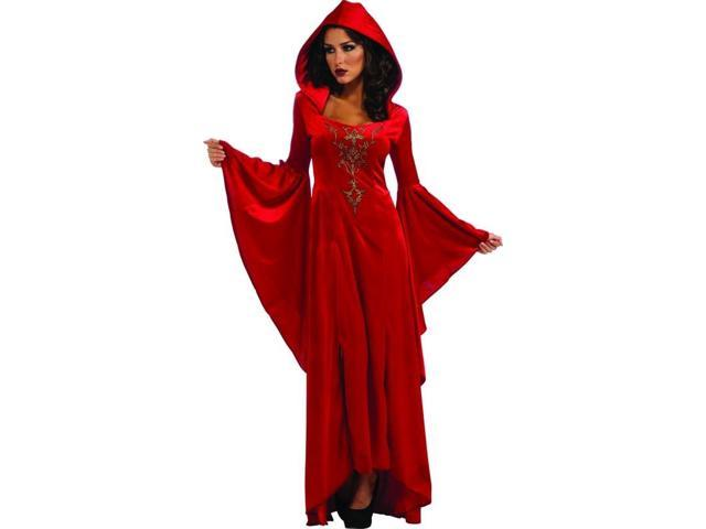 Medieval Scarlett Red Hooded Dress Costume Adult One Size Fits Most