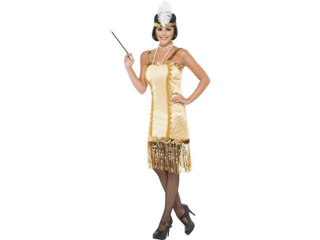 Charleston Flapper Costume Dress Adult: Gold Small
