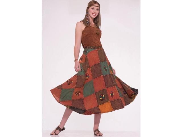 60's 70's Hippie Patch Costume Skirt Adult Standard