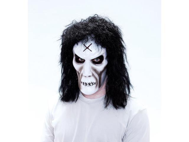 Maniacs PVC Molded White Zombie With Black Hair Adult Costume Mask