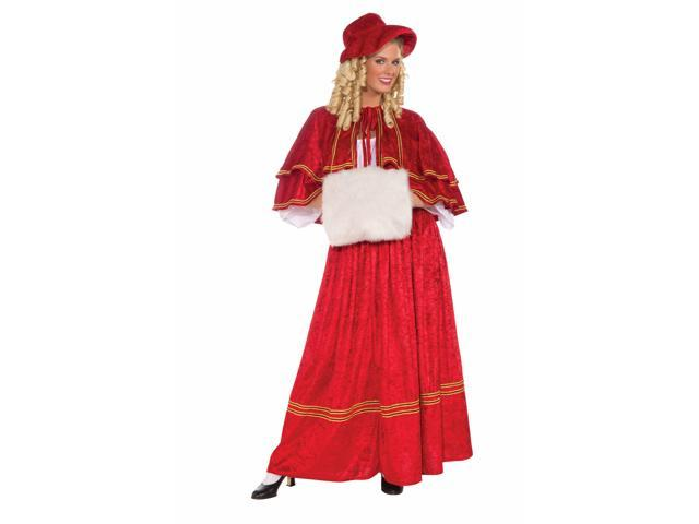 Old Fashioned Christmas Caroler Red Costume Dress Adult One Size Fits Most