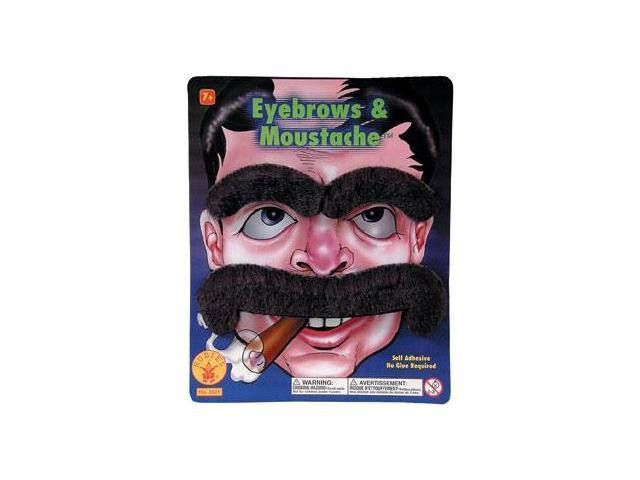 Large Moustache And Eyebrows Adult Costume Set - Black