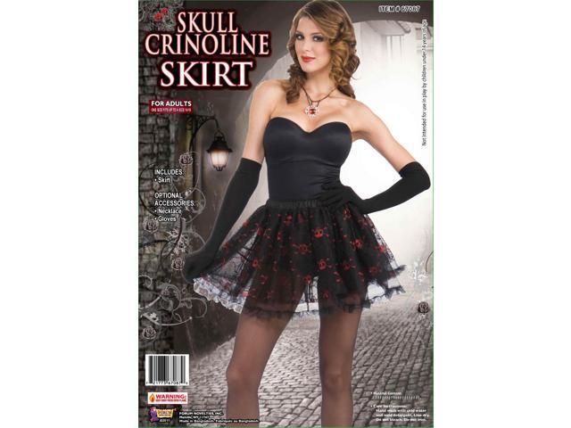 Black w/Red Skulls Crinoline Costume Skirt One Size Fits Most
