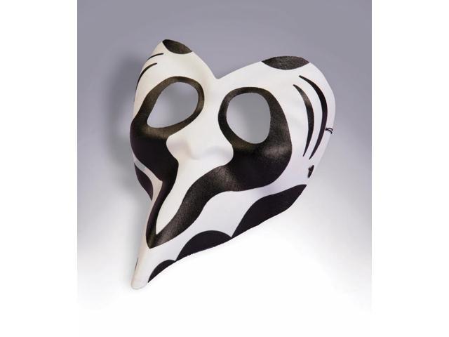 Black& White Zebra Costume Eye Mask Adult Standard