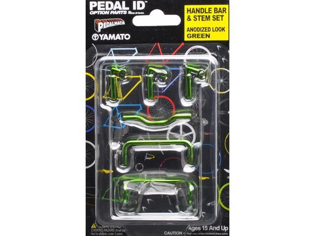 Pedal Id 1:9 Scale Bicycle: Handle Bar & Stem Set: Anodized Look Green