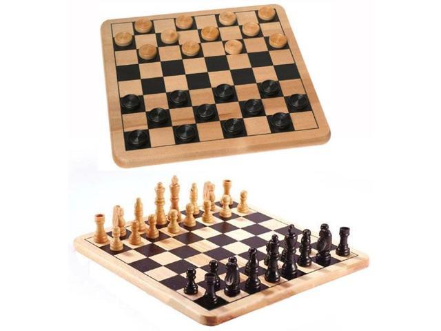 Wood Checkers & Chess Board Game Set Of 2