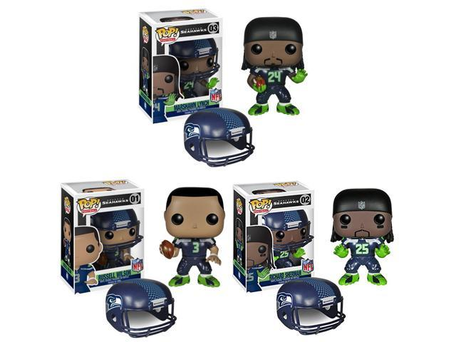 Seattle Seahawks NFL Funko POP Vinyl Figure: Lynch, Sherman & Wilson Set Of 3