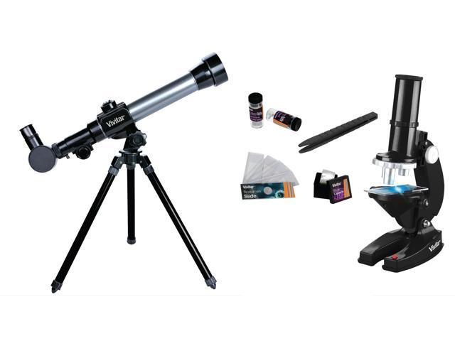 Vivitar Refractor Telescope W/Tripod And Microscope Set