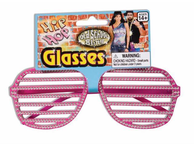 Hip Hop Rhinestone Pink Slat Costume Glasses