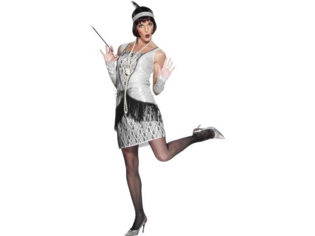 20's Flapper Costume Dress Silver Adult Large