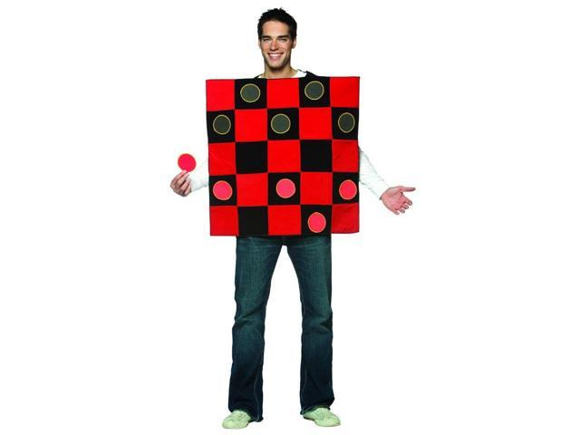 Black & Red Checker Board Game Tunic Costume Adult Standard