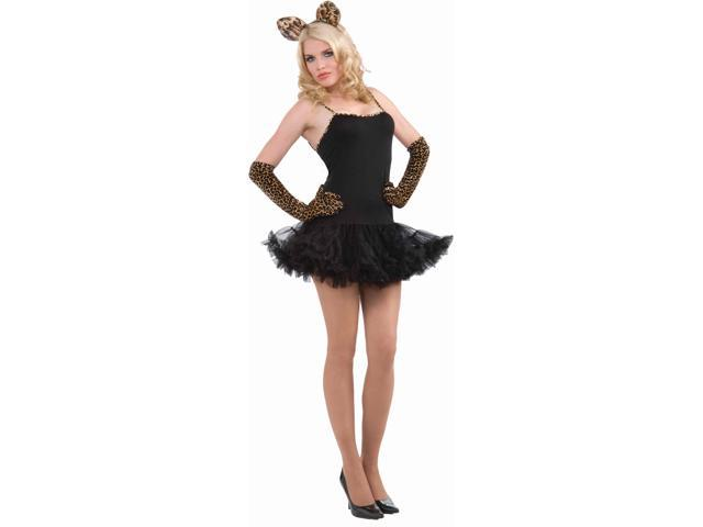 Fantasy Feline Black & Leopard Dress Only Costume Adult Standard