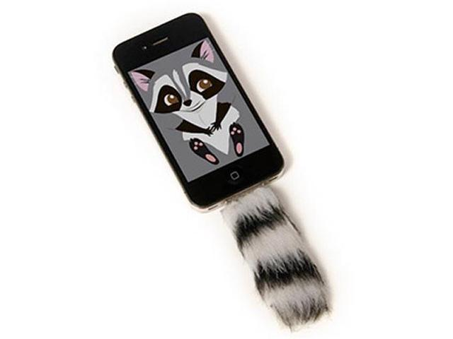 Faux White Strip Fox Tail Iphone Clip in Accessory With Screensaver
