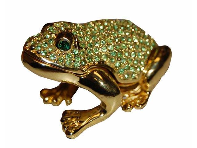 Golden Frog Crystals Jewelry Trinket Ring Box