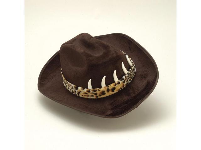 Adult Costume Cowboy Hat With Brown Crocodile Teeth